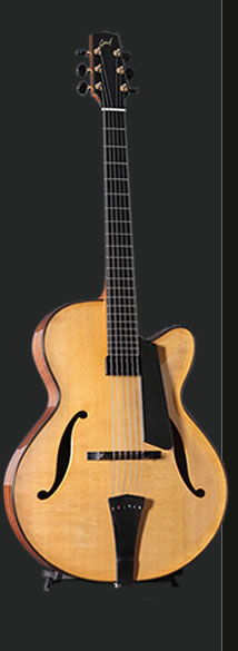 Full view of the hand built custom archtop guitar